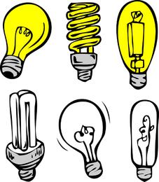 Set of hand-drawn light bulbs