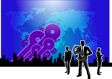 Businessmen and world map design