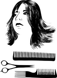 Material de vetor de corte de cabelo