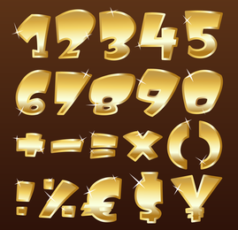 3D gold numbers and symbols