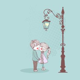 La linda pareja Illustrator 01 Vector