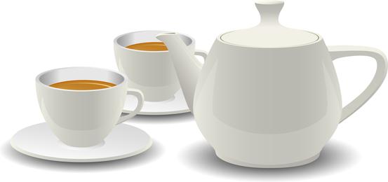 Juego de té de porcelana blanca Vector