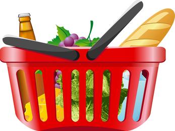 Obst und Gemüse und Vektor des Einkaufskorbs 01