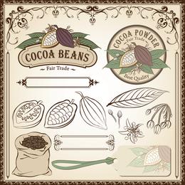 Fine Line Emitido em Cocoa Beans Vector