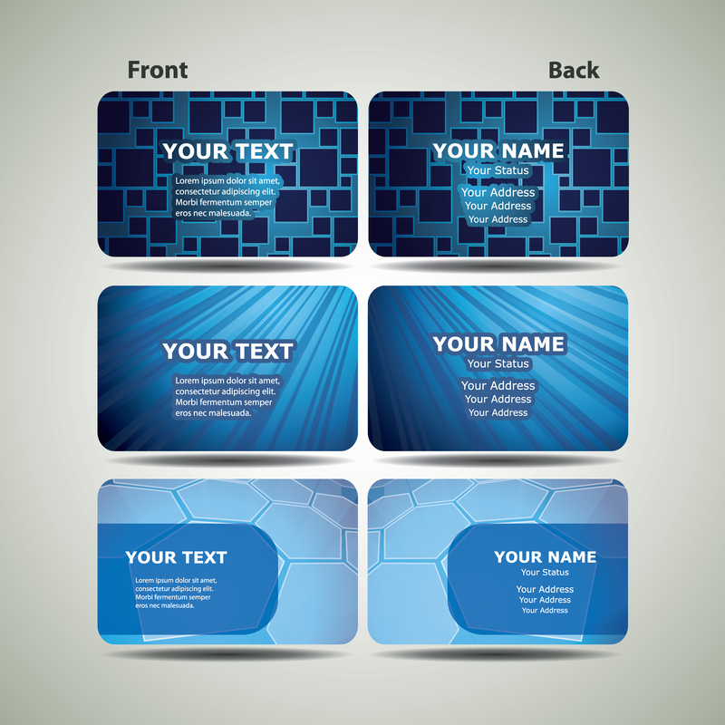 Blue Technology Business Card Template 02 Vector - Vector download