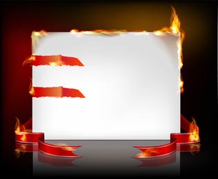 Fondo de marco de papel ardiente