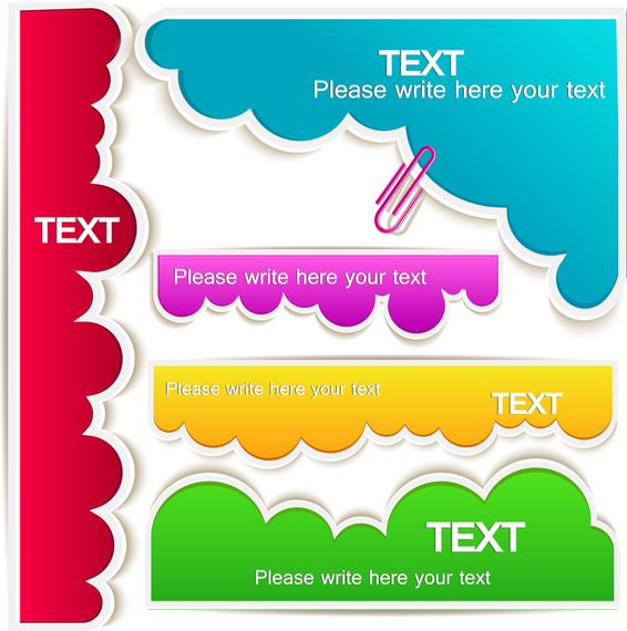 Colorful clouds text bubbles