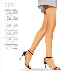 Hermoso calendario 2011 vector