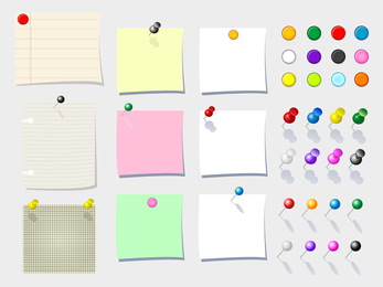 Notas de papel Vector Pin