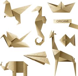 Origami carta y gráficos vectoriales