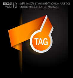 Orange tag design with text