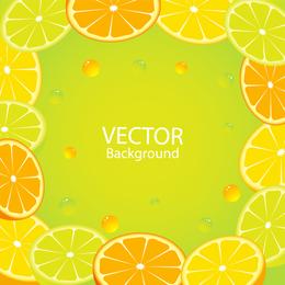 Orange lemon background frame