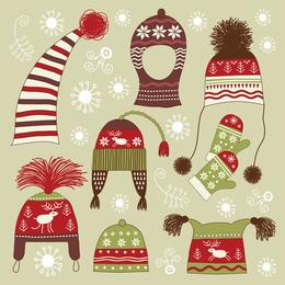 Winter Hats Gloves 01 Vector
