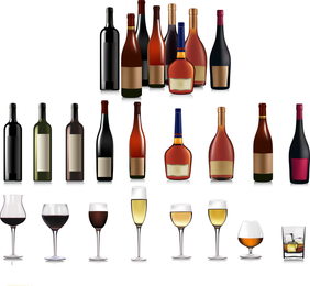 Bottles And Goblets 01 Vector