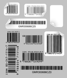 Código de barras creativo y práctico etiqueta vectorial 1