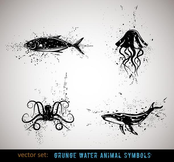 Animales de tinta 4 del vector