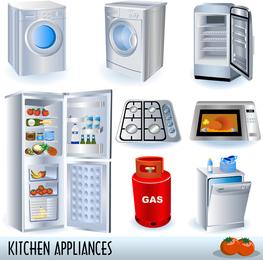 Um conjunto de utensílios de cozinha Vector