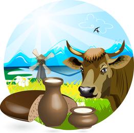 Milch-Theme-Vektor