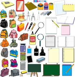 Elementos do vetor do conjunto de material escolar
