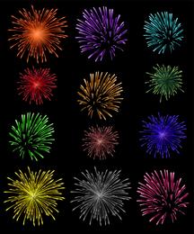 10 Dazzling Fireworks Vector