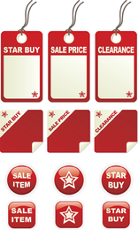 A Variety Of Decorative Red Label Graphics Vector 2