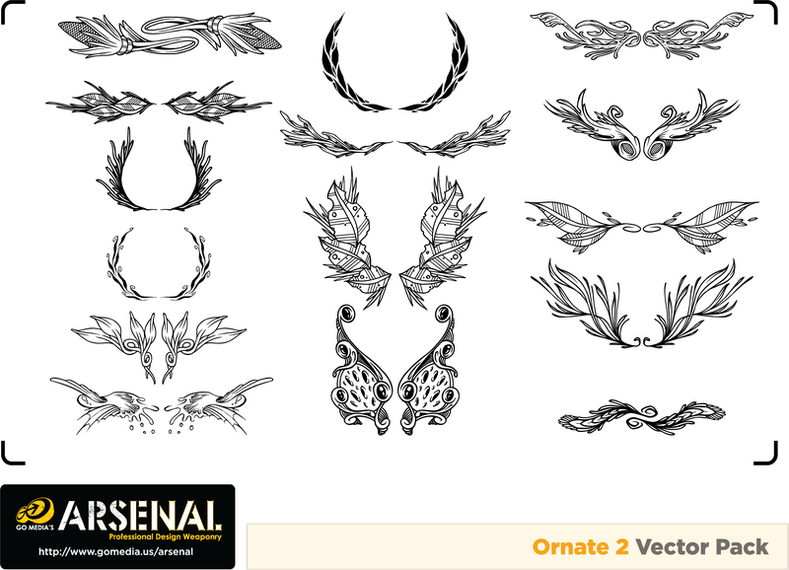27370201465 Go Media Produced Vector Set15ornate Trend - Vector download