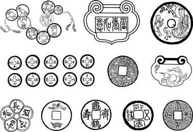 Sechs chinesische klassische Vektor