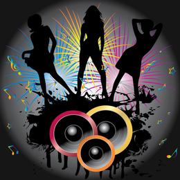 Women dancers silhouettes music
