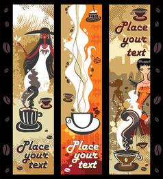 Vector de tema de las mujeres y el café