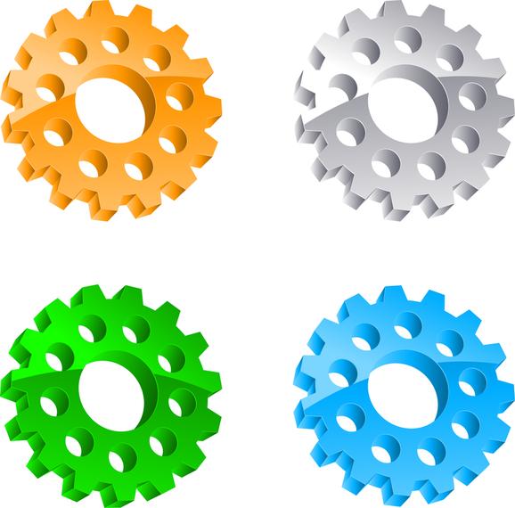 Set of 4 gear elements