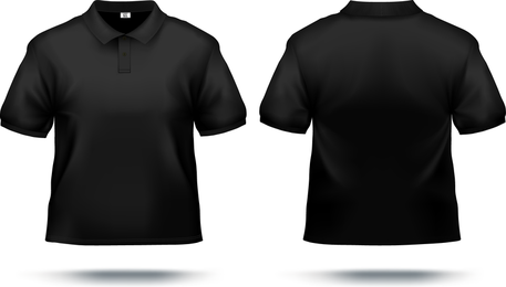 T shirt mockup template in black over white