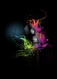Music design with colorful swirls