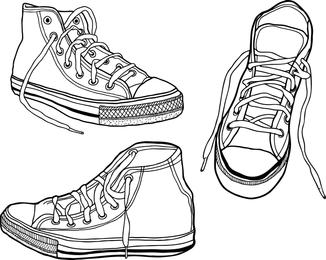 Zapatillas ilustradas dibujadas a mano en bruto