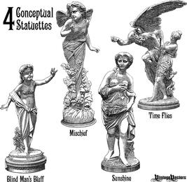 4 vetores de estátua exibindo 4 conceitos
