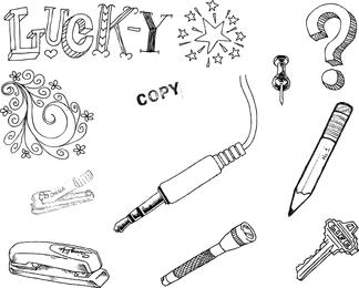 Conjunto de vetores de objetos de mão desenhada