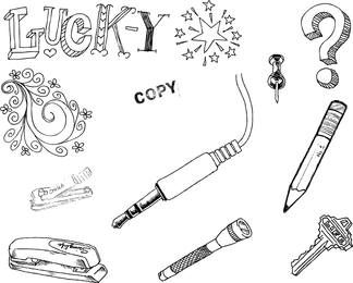 Hand Drawn Objects Vector Set