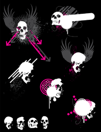 Set of artistic skulls