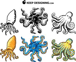 Diseño del pulpo vectores gratis