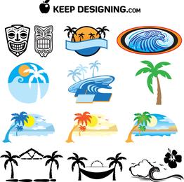 Paquete de iconos de playa de Hawaii