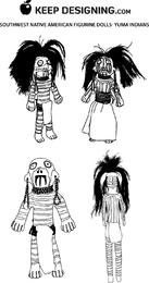 Sudoeste nativo americano Figuras Muñecas diseño vectores