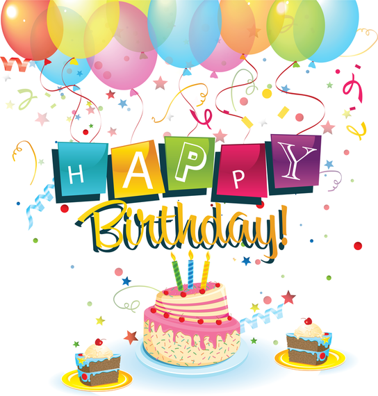 Happy Birthday With Balloons And Cake Vector Download