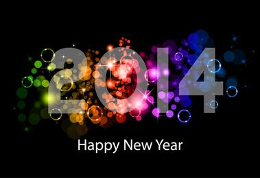 Dunkler Regenbogen des guten Rutsch ins Neue Jahr 2014