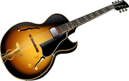 Ilustração de guitarra marrom e preto