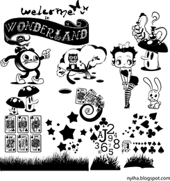 Bienvenido al dibujo de Wonderland con elementos.