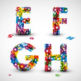 Las letras creativas diseñadas 08 Vector