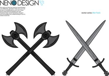 Machados de ferramentas de guerra e espadas