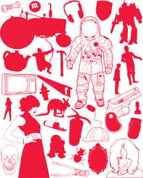 Objetos vermelhos aleatórios
