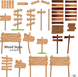 Wood Signs Vector Set 2