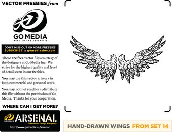 Mão desenhadas asas em preto e branco