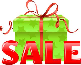 Caixa de presente verde vetor com fita vermelha para venda